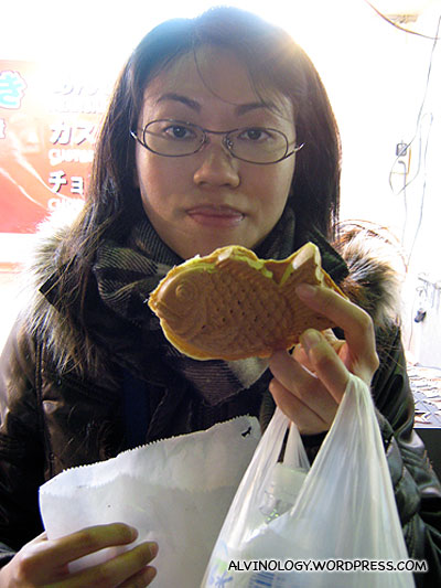 Rachel with her fish-shaped pancake