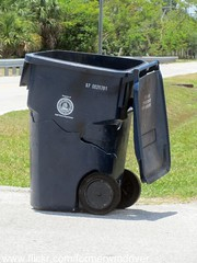 Badly damaged Otto Classic 95 gallon cart at the Tampa Public Works Yard (FormerWMDriver) Tags: broken trash garbage can bin collection container gal otto rubbish waste cart refuse damaged 95 busted cracked sanitation gallon classic95