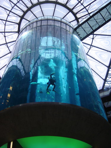 Scuba diver in AquaDom at hotel in Berlin, Germany
