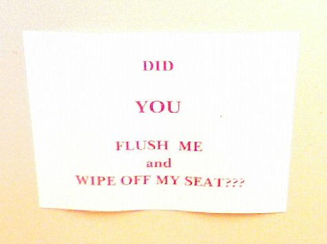 DID YOU FLUSH ME AND WIPE OFF MY SEAT????