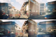 CNV00004 (incurable_hippie) Tags: motion lomo lomography sheffield transport toycamera actionsampler citycentre 4in1 takenfromabuswindow