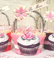 Valentine's Day cupcake candy cups by Everyday is a Holiday (holiday_jenny) Tags: flowers red rose cake glitter vintage magazine cupcakes baking sweet chocolate valentine retro bakery handpainted valentinesday frosting bemine nutcups romantichomes