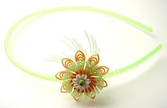 Green and Orange Vintage Flowers Headband
