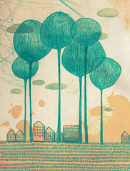 Urbanits 01 (.lafabe.) Tags: trees houses urban art grass illustration paper landscape graphicdesign drawing mixedmedia draw mixage