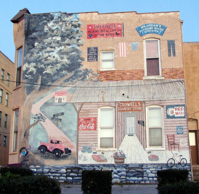 Old fading Shelbyville Mural