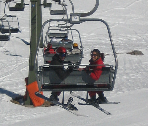 Julio and Elsa on the ski lift