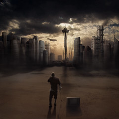 I was just taking my TV for a walk and the world exploded (Bobshaw) Tags: world city portrait me television photoshop self tv cityscape skyscrapers montage end photomontage apocalyptic bobshaw