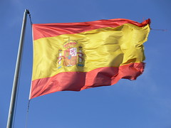 Zaragoza Airport. Spain flag