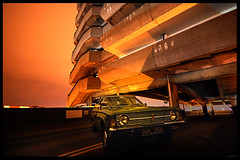 'We'll always have the Cortina' (Superlekker) Tags: uk light england ford film cortina car architecture modern night vintage delete9 movie newcastle concrete delete5 delete2 1971 nightshot delete6 delete7 low wideangle delete8 delete3 demolition delete delete4 save save2 gateshead 1960s cracks carpark brutalism brutalist multistorey openday getcarter tyneandwear owenluder noctural betonbrut lastnightoftheillumination whichdidntactuallyhappen thebestcityshots anjalieder copyrightanjalieder2008
