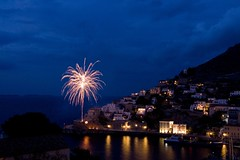 Cause for celebration in Hydra - _MG_2354ed (Dimitris Papazimouris) Tags: longexposure night easter island greek fireworks greece palmtree festivities hydra canon30d tokina1224f4 spactacular fastive theunforgettablepictures