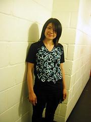 Tomomi wear big number black T