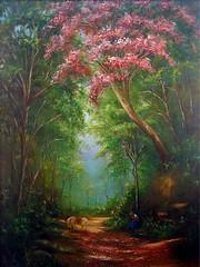 À sombra de um Ipê (Ana Cazetta) Tags: flowers trees horse naturaleza flores nature person pessoa natureza quadro pintura árvores artesplásticas obradearte muitascores trabalhopessoal verycollors
