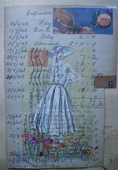 Big hat ~ windy day (hens teeth) Tags: collage vintage handmade embroidery sewing ephemera stitches script italic sewngpatterns