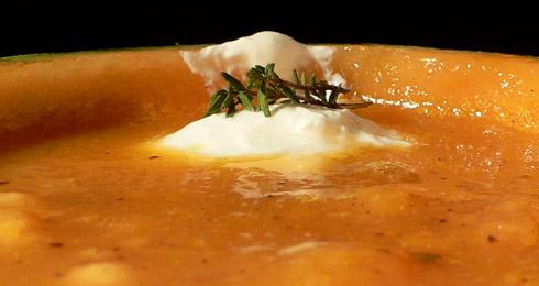 Melonensuppe mit Garnelen