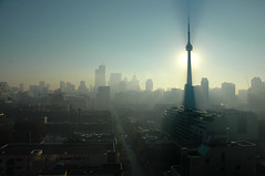 Awoke in the shade that morning (picturenarrative) Tags: city blue light sun toronto ontario canada monument fog skyline 6ws cntower blogto shadesofblue cityland wsl citybuild lptowers