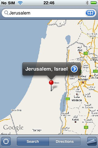 Old Israel Google Maps iPhone