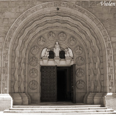 cathedral gate (Violen's photography) Tags: door sculpture art church beautiful statue architecture town gate worship cathedral god prayer pray poland polska enter entrace bielskobiala