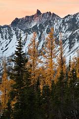 Azurite Peak Sunrise (KPieper) Tags: mountain color fall nature yellow clouds sunrise landscape cascades pacificnorthwest washingtonstate larch pnw alpenglow northcascades anawesomeshot northcascadesscenichighway kevinpieper kpieper kpieperphotography pieperphotographynet