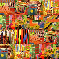 a collage of collages. (artsy_T) Tags: art collage paint whatever layers kidart recycling oilpastels elementary constructionpaper tempera overdone