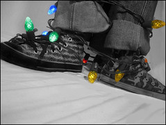 And So It Begins... (blonde_sage) Tags: christmaslights converse coloredlights chucks chucktaylors christmascard blueribbonwinner selectiveedit