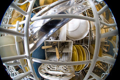 Inside the dishwasher (neilcreek) Tags: kitchen metal shiny humorous steel flash fisheye clean inside dishwasher plates dishes cutlery homourous