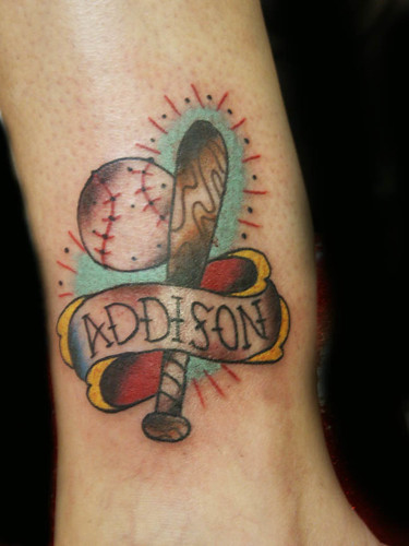 Baseball Tattoo by Nowhere Fast Tattoo. By Dan Kubin at Nowhere Fast Tattoo.