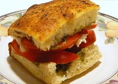 Pesto, Mozzarella, Tomato, Focaccia