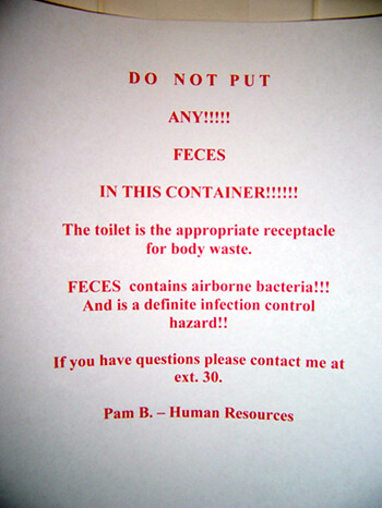 DO NOT PUT ANY!!! FECES IN THIS CONTAINER!!!!!!