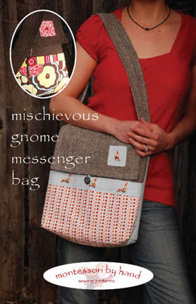 front of mischievous gnome messenger bag sewing pattern