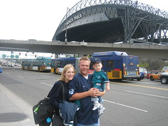 The whole family outside Safeco Field
