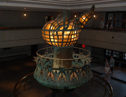 view from the statue of liberty torch. Statue of Liberty torch in the
