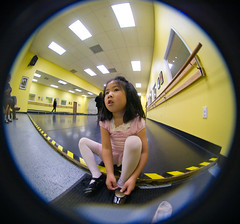 Jessie preparing for tap class (arkworld) Tags: ballet jessie fisheye tap 8mm balletclass peleng pelengfisheye public4now