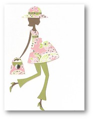 Mod Preggie Mom Card (dluxedesigns) Tags: pink green modern paper shower mod girly mommy pregnant africanamerican chic multicultural ethnic expecting handmadecard glittered piecing dluxedesigns