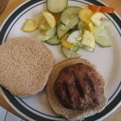 Pork Burger & Veggy Salad