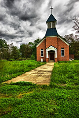 The Hard Path To Salvation (David Renwald) Tags: green churches crosses paths sidewalks hdr