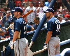 waiting their turn (Boston Wolverine) Tags: boston brewers baseball fenway bp pregame milwaukeebrewers mlb batter battingcage 70300mmf456 gabekapler joedillon