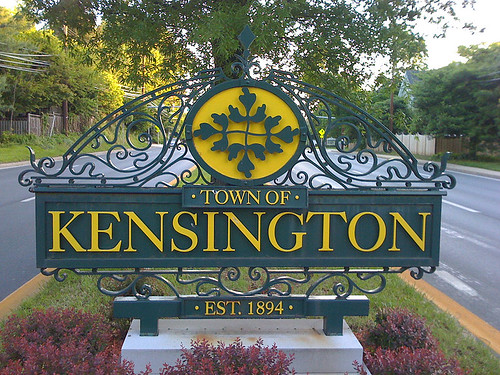 Sign for the Town of Kensington in Maryland - Taken With An iPhone