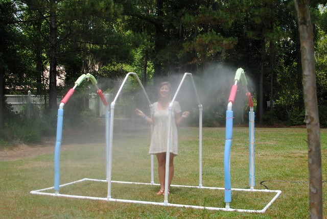 misty sprinkler run-through after the hottest/sweatiest/day ever, aka heaven