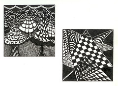zentangle book 5 (sugarpacketchad) Tags: blackandwhite pen paper drawing drawings collection zentangle lindarudometkin zentangles