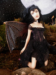 #52 Ayesha ~ Vampiress Bat (Nenfar Blanco) Tags: sculpture art halloween doll handmade oneofakind ooak goth bat polymerclay vampiress nenufarblanco