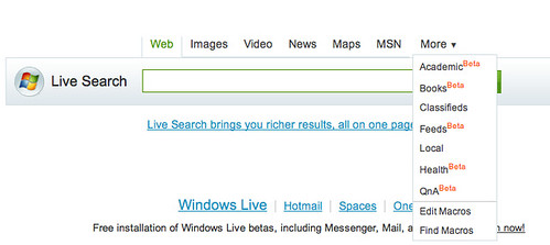 Live Search Adds More Link