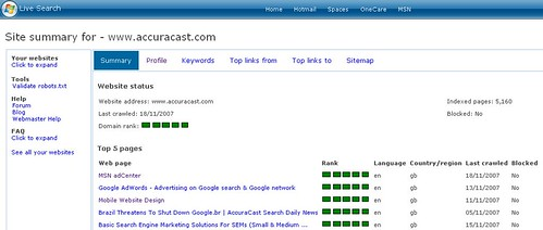 Screenshot of Live Search Webmaster Tools