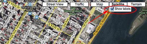 nueva vista híbrida de mapa de google