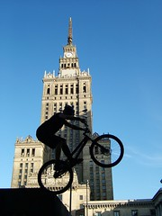 City bikejumping (voeter) Tags: city building tower bike bicycle architecture jump jumping cityscape action capital mountainbike poland riding polen warsaw flickrchallengegroup