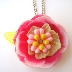 Pink and Yellow Vintage Flowers Necklace