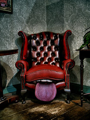 Don't be chary, take a seat (Matt West) Tags: tongue mouth chair teeth lick oral paintshoppro snibston views200