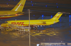 DHL (ABX Air) McDonnell Douglas DC-9-41 (N979AX) (Michael Davis Photography) Tags: nightphotography atlanta airplane photography aviation flight jet dhl dc9 mcdonnelldouglas airborneexpress katl cargoplane abx cargojet cargoramp airprotramp n979ax