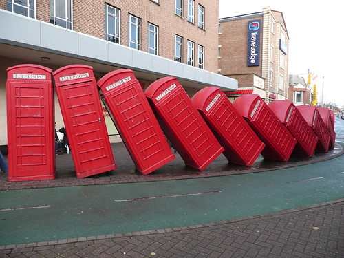 Leaning telephone cabins, Kingston, UK