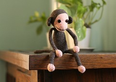 monkey has deep and complex thoughts (flint knits) Tags: pink brown monkey ryan crochet gift amigurumi crocheted chimuchimu