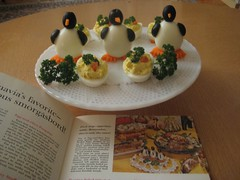 Smorgasbord penguins (sparkleneely) Tags: food vintage penguin egg olive retro vintagerecipes olivepenguins midcenturysupperclub